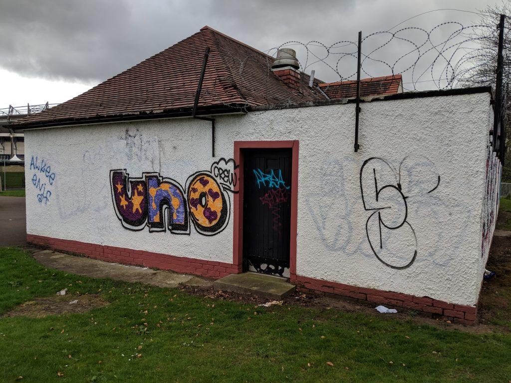 Graffiti on the pavilion